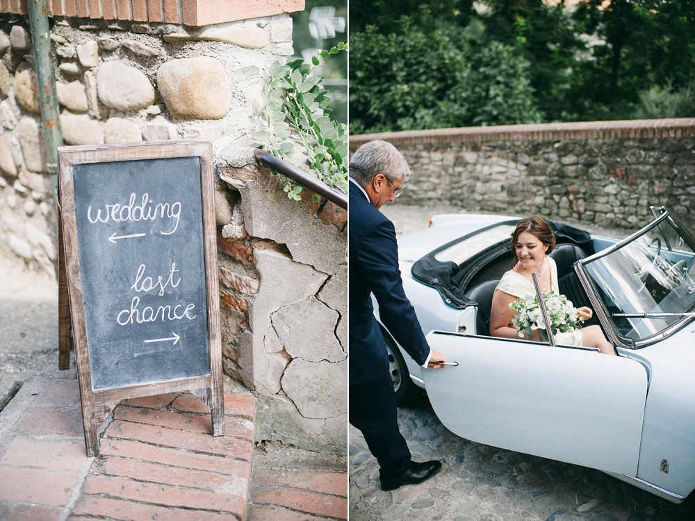 bride arrival in vintage Giulia car