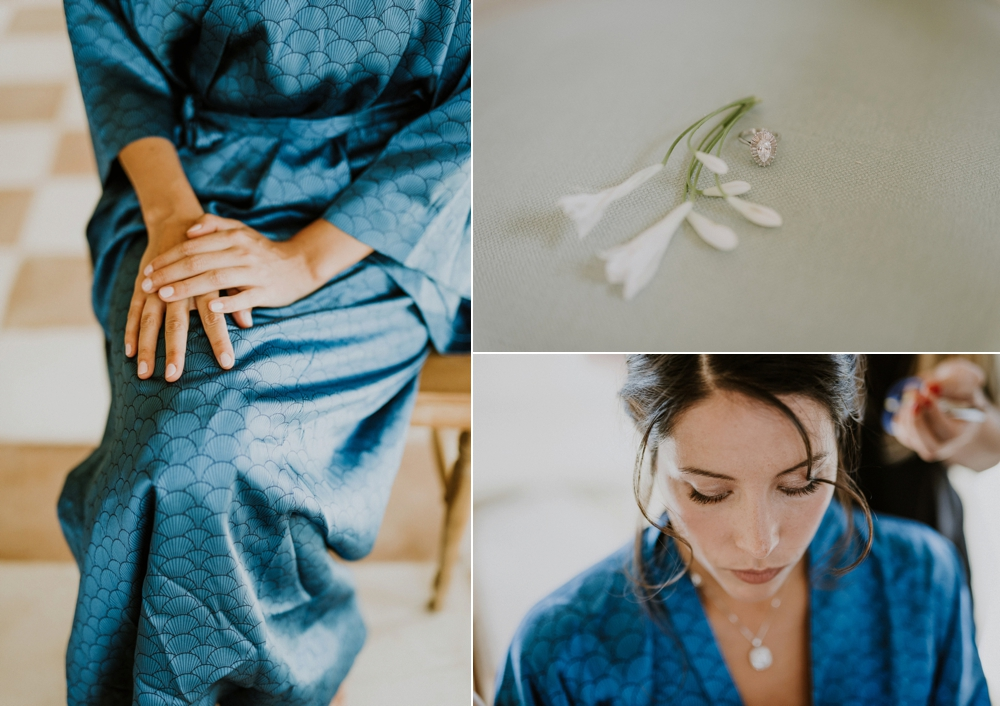 bride getting ready - buddhist wedding in italy
