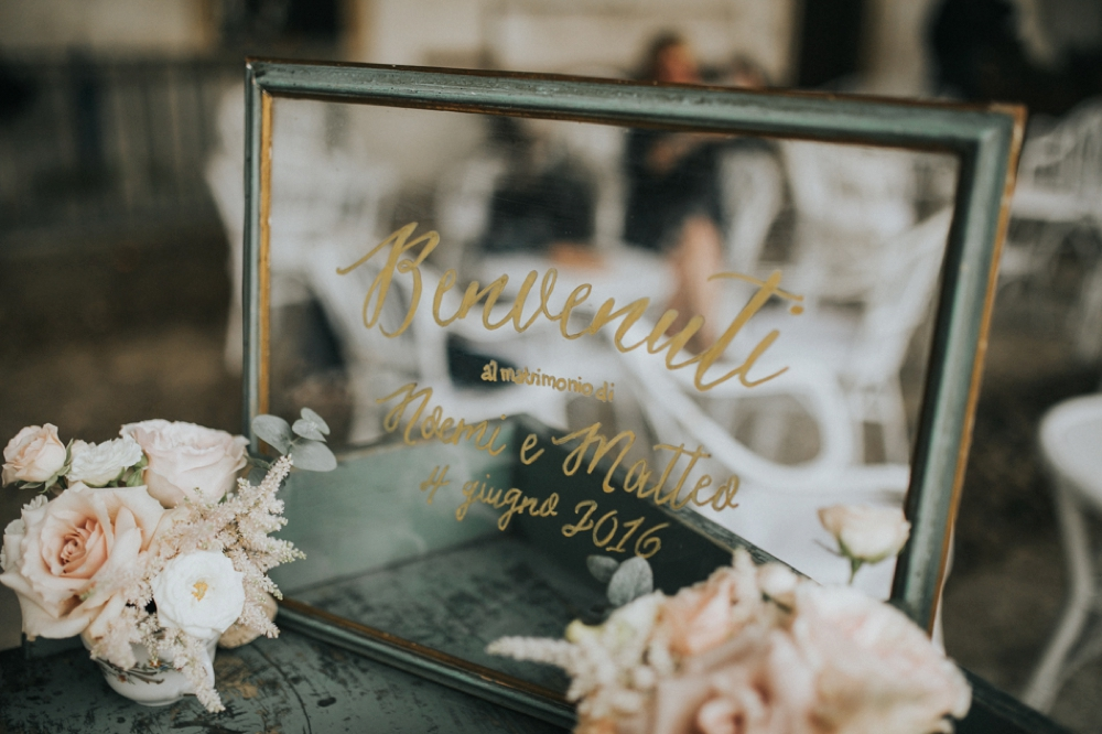 Veneto Villa Wedding - welcome sign on glass