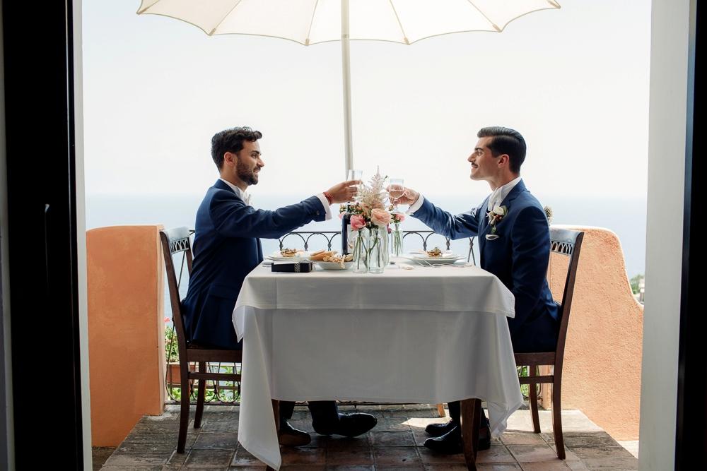 same sex italy wedding decor