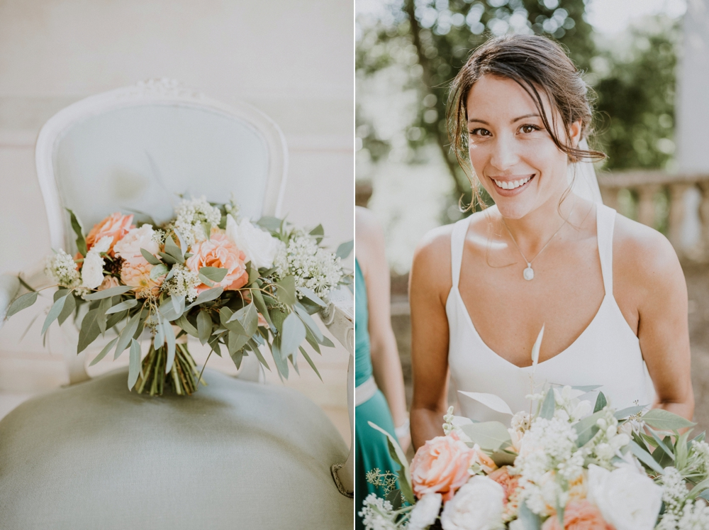 bride and bouquet - buddhist wedding in italy