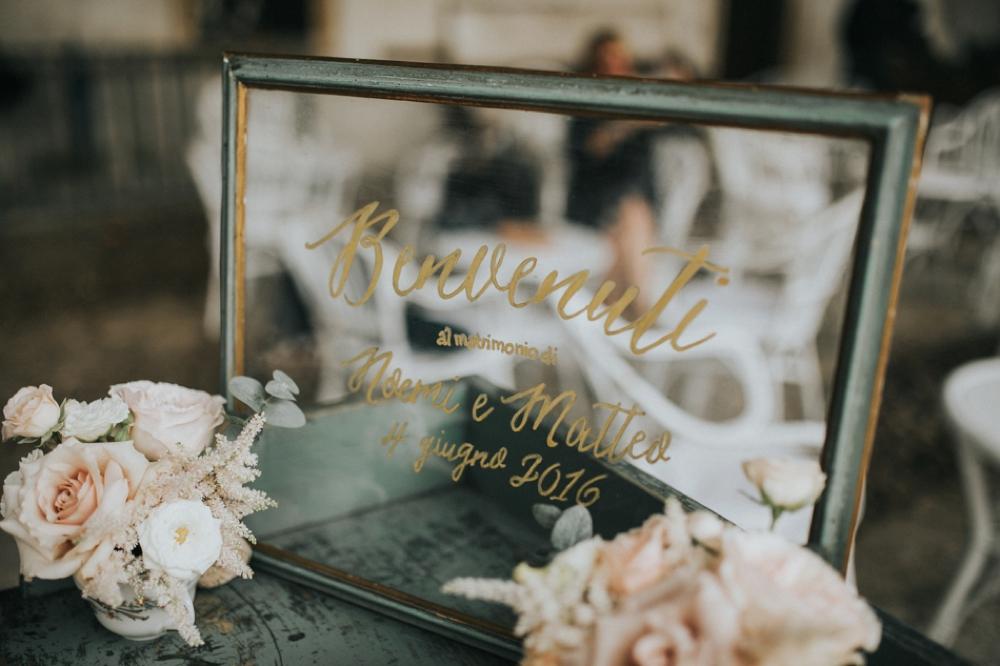 Veneto Villa Wedding - welcome sign on glass