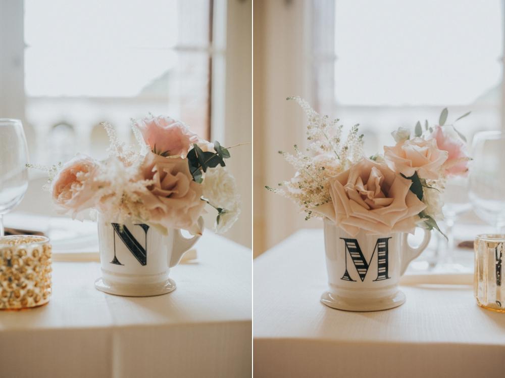 Veneto Villa Wedding - anthropologie mugs with flowers