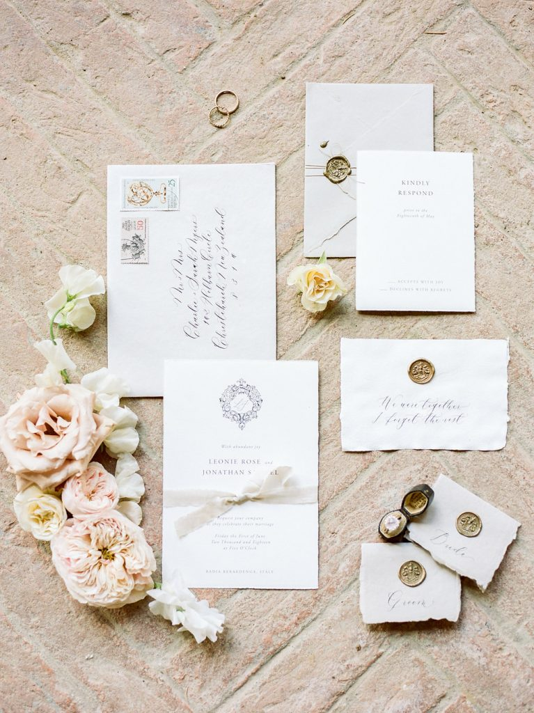 wedding stationery calligraphy flat lay