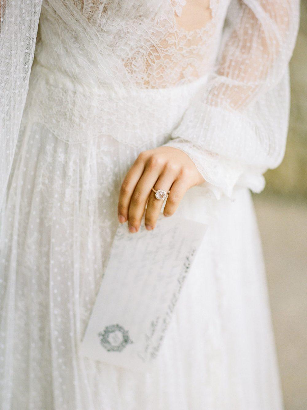 bride holding love letter