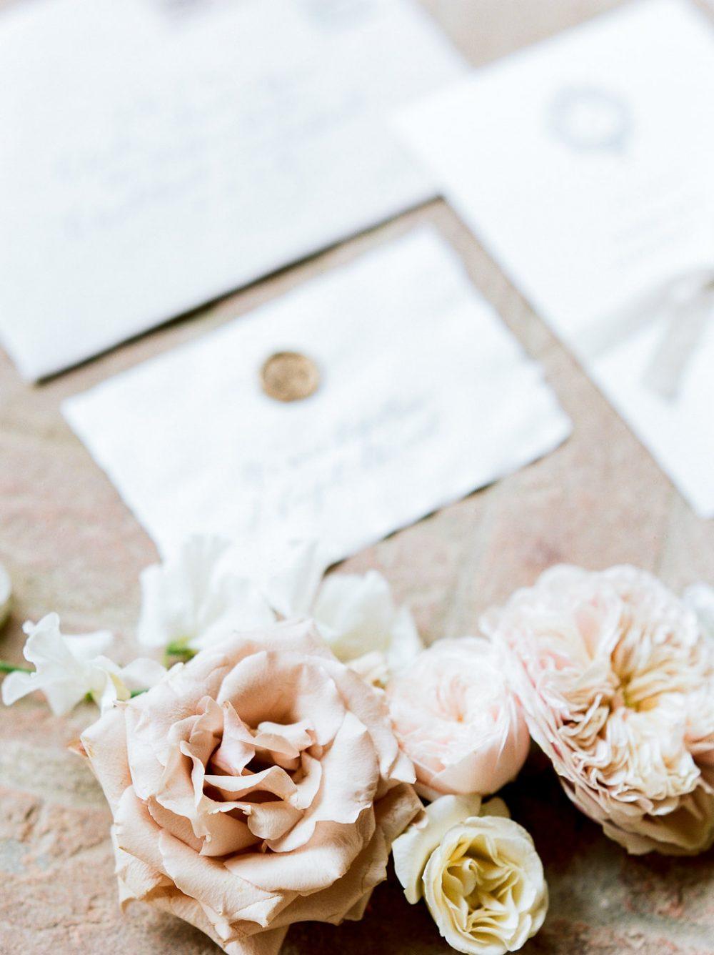 wedding stationery calligraphy flat lay
