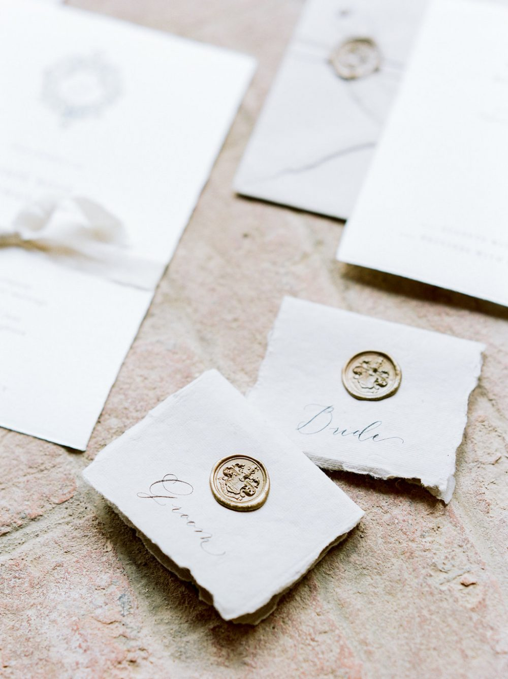 wax seal calligraphy place card