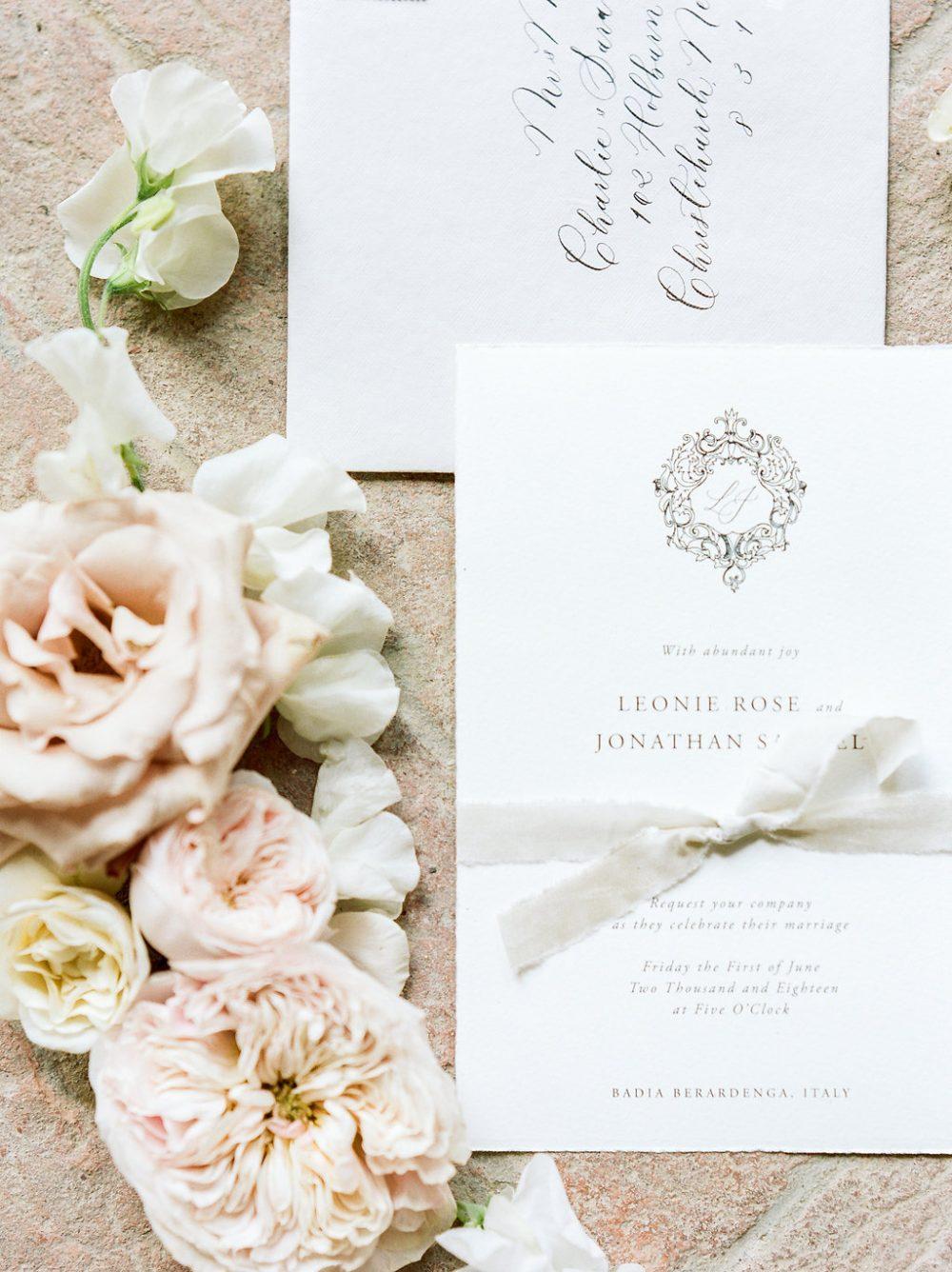 wedding invite calligraphy flat lay