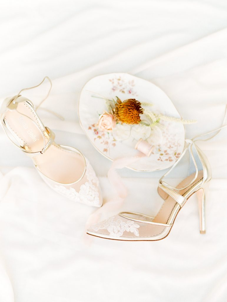 wedding details flat lay bella belle shoes