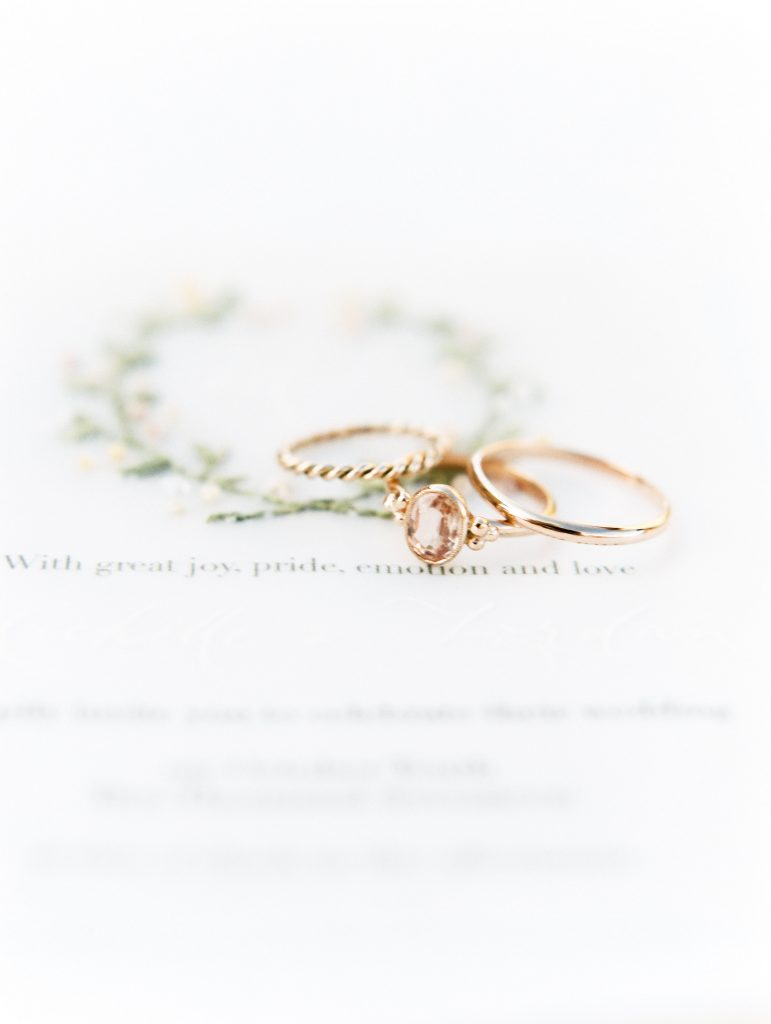 San Galgano Abbey Wedding pink gold rings