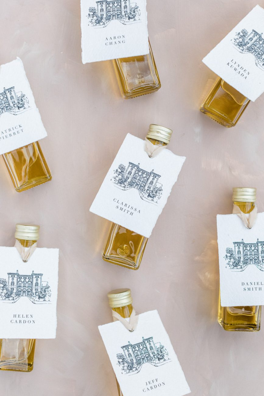 Olive Oil Favors with Villa Cetinale Illustration Molly Carr Photography Laura Bravi Events Every Little Letter